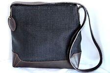 Stone Mountain Purse Women Black Fabric Brown Leather Shoulder Bag Handbag Tote