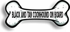 "Dog on Board Black And Tan Coonhound Bone Car Magnet Bumper Sticker 3""x7"""