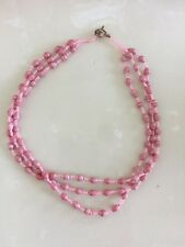 Pink 3 Strand Bead Necklace