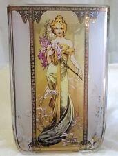 GOEBEL HANDMADE ART GLASS TEALIGHT - SPRING BY ALPHONSE MUCHA - TEA LIGHT 8516