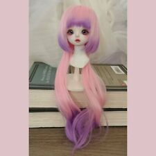 BJD doll handmade wig YOSD gradient/ombre color curly bob pink to purple