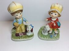 Vtg=Homco=Set-2=Ceramic Figurines=Moppet Hatted Kids -Enjoying Play W/ Puppies