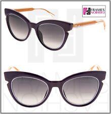 35010b2f1c8f FENDI LINES FF0132S Black Orange Cat Eye Sunglasses 0132 Women TRIANGLE