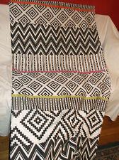 MUD HUT MUDHUT CLOTH/FABRIC SHOWER CURTAIN BLACK & WHITE GEOMETRIC PANAMA WAVE