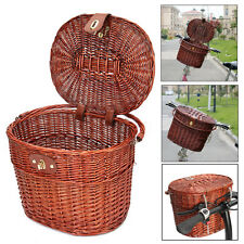 Willow Wicker Bicycle Bike Front Basket Handlebar For Pet Shopping Camping Fruit
