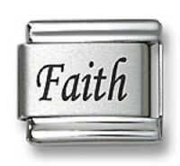 Italian Charm Bracelet Links Laser Word Faith 9 mm Stainless Steel Religious