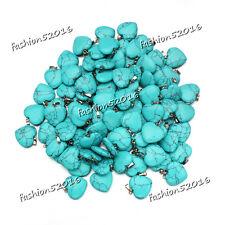 Wholesale natural Heart Turquoise Gemstone stone Silver P Beads Pendant 3pcs