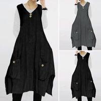VONDA Women Summer Loose Solid Sleeveless Casual Vintage V Neck Long Maxi Dress