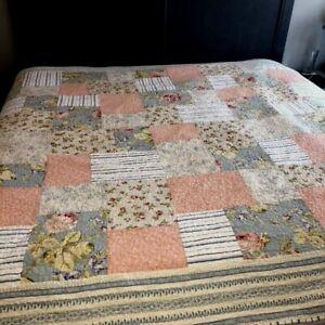 Patchwork Block Quilt Queen King Sz Pink Blue Large Floral Blocks Cottage Charm