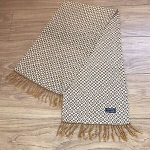 Vintage 1960'S Tootal Scarf Yellow And Brown Paisley With Tie Tassels