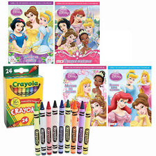 4 Children' Coloring Activity Books + 24 Crayons Disney Princess Spanish Edition