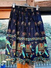 Vintage Tree of Life Indian Cotton Skirt Elephant Print With Tag Never Worn
