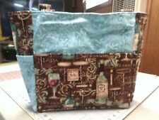wine bottle glass alcohol drink brown blue purse/project bag handmade