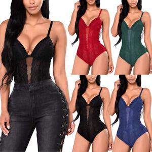 Women Ladies V Neck Bandage Bodysuit Leotard Top Blouse Jumpsuit Romper US