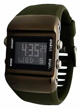 New Nike Press WC0038-496 Light Chocolate Digital Chronograph Silicone Watch