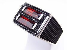 Turkish Handmade 925 sterling silver Ruby Men's Ring Sz 10 us Free Resize