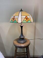 Antique Arts & Crafts Handel School Slag Glass Desk / Table Lamp