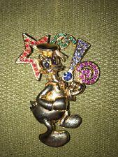 Vintage Napier Disney Donald Duck Pin Gold Tone Colored Stones