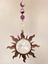 Rear View Mirror Car Charm Ornament,Amethyst Gemstone SunCatcher,Car Accessory