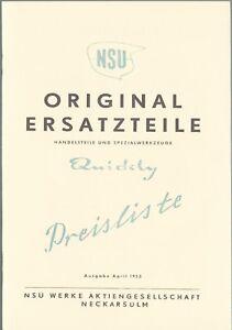Ersatzteile - Preisliste, NSU Quickly, A 5