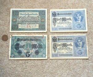3 x 1917 Funfmark and 1 x 1920 Zehnmark German  Banknotes Circulated
