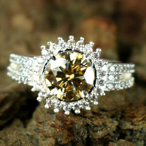Certified 4.81 Ct Champagne Diamond Halo Solitaire Unisex Ring Engagement Gift