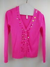 CHEROKEE sz LG 10/12 girls pink v-neck sequin embellished cardigan