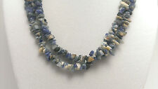 """*Authentic* India Sodalite Chip Bead Crystal 34"""" Necklace #82"""