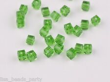 30pcs 6mm Cube Square Faceted Crystal Glass Charm Loose Spacer Beads Grass Green
