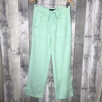 Ralph Lauren Black Label Sz 4 Women's 100% Linen Straight Leg Pants Teal
