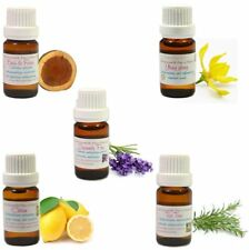 Lot De 5 HUILES ESSENTIELLES 10ML : Bois de Rose Citron Lavande Tea tree Ylang