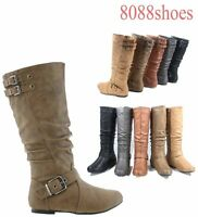 Women's Fashion Mid Calf Zipper Triple Buckle Flat Winter Boot 5 Colors  6 - 10