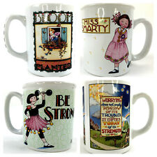 Lot of 4 Mary Engelbreit Coffee Mugs Cups Miss Smarty Be Strong and More