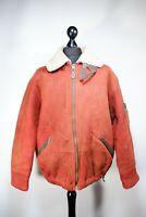 Vintage Orange Emporio Armani Sheepskin leather jacket Size 2XL