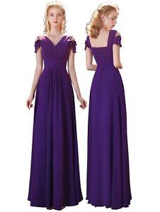 New Chiffon V-neck Long Maxi Evening Wedding Bridesmaid Formal Party Prom Dress