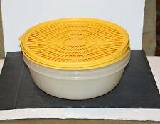 Tupperware Bowl & Strainer/Colander 1833 & 1835 Yellow Lids - 3 Quart
