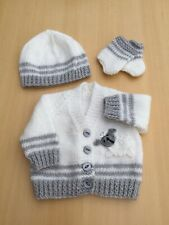 Hand Knitted Baby Cardigan Hat/boots - Sheep Motif  Grey/White Newborn CUTE