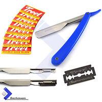 Professional Barber Hair Shaving Razor Straight Edge Folding Knife + 10 Blades
