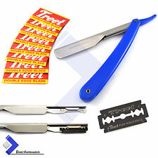 Professional Barber Hair Shaving Razor Straight Edge Folding Knife + 10 Blades
