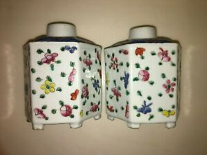 NICE PAIR CHINESE ENAMELED FAMILLE ROSE MULTICOLOR PORCELAIN TEA CADDIES 6 SIDES