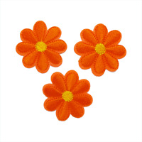 Orange Flowers Patch (Set of 3) — Iron On Badge Embroidered Motif — Flower #145