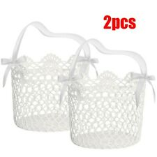 2PCS White Bowknot Knitting Flower Girl Basket For Banquet Engagement Wedding UK
