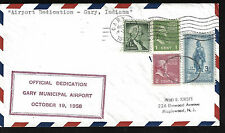 GARY MUNICIPAL AIRPORT DEDICATION COVER GARY INDIANA 1950 MAPLEWOOD NJ CANCEL BK