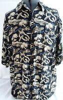 Vintage Reyn Spooner-Mens Button Down Hawaiian Shirt, Large, Tiki & Surfer Print