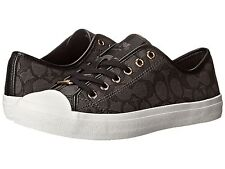 New Sz 6.5 Coach Empire Black Signature Women's Casual Fashion Sneakers