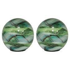 Gazing Ball 5 in. Art Glass Solar Light Garden Porch Patio Decor Green 2-Piece