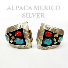 Vintage Mexican Alpaca Silver Turquoise & Coral  Watch Band