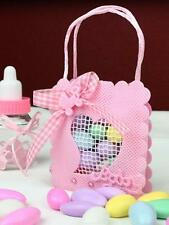 12 Mesh Baby Heart Favors It's a Girl! - large, Pink  Bomboniere.Baby Shower