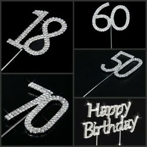 Rhinestone Crystal Diamante Gem Cake Pick Topper Number Age Birthday Anniversary