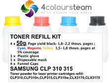 4x 50g TONER REFILL FOR  SAMSUNG CLP 310 315 CLX 3170 3175 CMYK